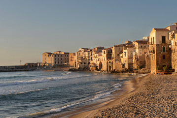 Seaside village Cefalu in Sicily in the sunset light