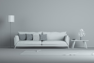 White interior design minimal style concept. Gray modern sofa in gray living room