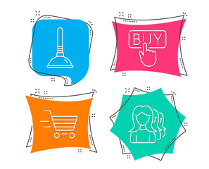 Set of Delivery shopping, Buying and Plunger icons. Women headhunting sign. Online buying, E-commerce shopping, Clogged pipes cleaner. Women teamwork.  Flat geometric colored tags. Vivid banners