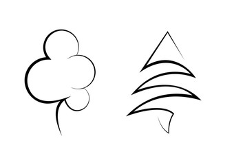 Black vector tree icon isolated. Plant in linear style illustration. Tree logo