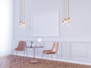 Living room interior wall mock up on white background, 3D rendering, 3D illustration