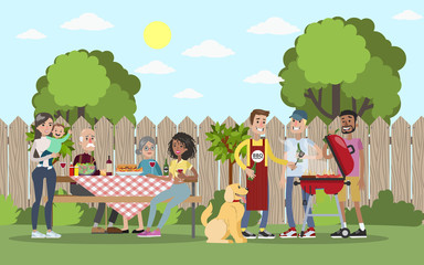 Image result for familyBBQ mixed race cartoon free image