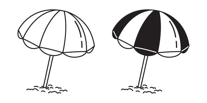 beach umbrella vector logo illustration summer sea ocean doodle cartoon white