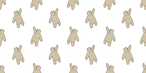 Bear seamless pattern vector polar bear panda isolated teddy wallpaper background brown