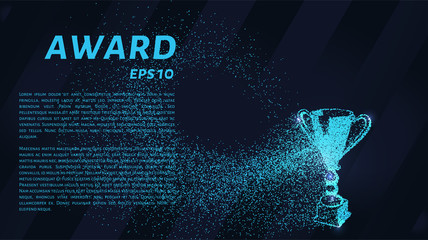 The award of the particles. Sports trophy consists of circles and points. Vector illustration.