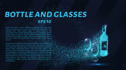 Bottle and glasses of particles. Bottle and glasses are composed of small circles and dots.