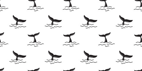 whale seamless pattern shark fin tail dolphin ocean sea isolated tropical summer wallpaper background