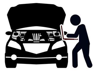 gz67 GrafikZeichnung - german: Automechaniker macht eine Fahrzeugdiagnose mit einem Laptop - english: auto mechanic - vehicle diagnosis on a notebook computer - DIN A1 A2 A3 A4 - poster xxl g5974
