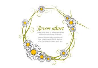 Vector round daisy frame template