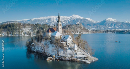 Lake Bled With Bled Island In Winter Slovenia Stock Photo