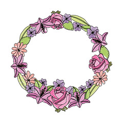 wreath floral decoration icon vector illustration design