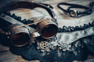 Steampunk or cyberpunk glasses and women's clothing accessories.