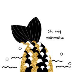Fashion print with mermaid tail. Vector hand drawn illustration.