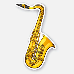 Sticker of classical music wind instrument saxophone