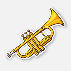 Sticker of classical music wind instrument trumpet