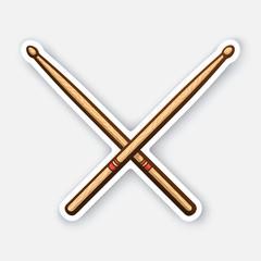 Sticker of crossed wooden drumsticks