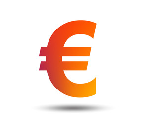 Euro sign icon. EUR currency symbol. Money label. Blurred gradient design element. Vivid graphic flat icon. Vector