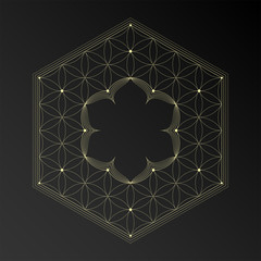 Vector frame in style oriental sacred geometry, golden flower of life and lotus with place for text, design for yoga and meditation.