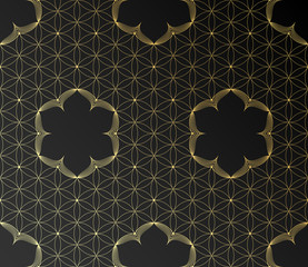 Vector golden sacred geometric seamless pattern with motif lotus and flower of life on black background.