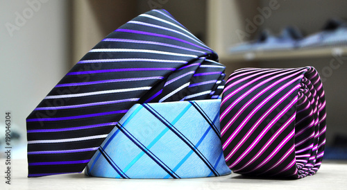 017a59ea6278 Colorful men's tie collection.Display of different patterns and colours of  man ties in a
