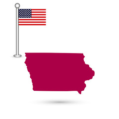 Map of the U.S. state of Iowa on a white background. American flag