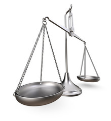 Scale of justice. Metal scale. Worn and rough metal. Perspective view on white background. 3D render.