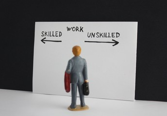 Skilled or unskilled work decision choice options. Little miniature figure manthinking about future job.