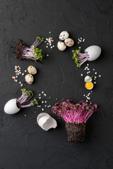 Fresh chicken and quail eggs and watercress on a black textured background..