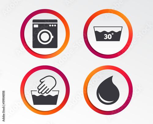 Hand Wash Icon Machine Washable At 30 Degrees Symbols Laundry