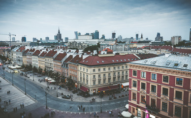 View on old and modern architecture in downtown of Warsaw, Poland