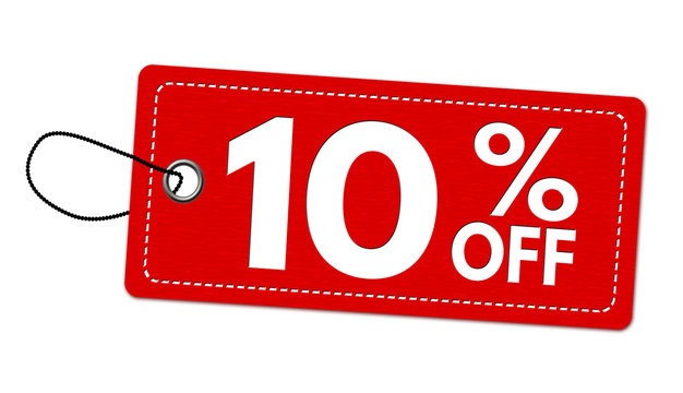 Special offer 10% off label or price tag
