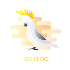 Icon with cockatoo in flat design on white background. Vector.