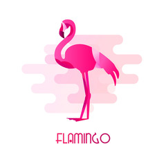 Icon with flamingo in flat design on white background. Vector.