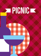 glass bottle and cup grape wine beverage picnic vector illustration