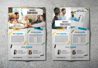 Conference Flyer Layout with Blue Accents