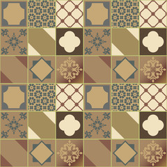Mega beautiful seamless patchwork pattern from colorful tiles. Vector image.