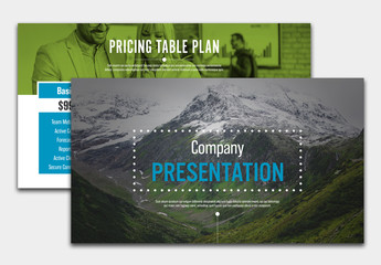 Presentation Layout with Blue and Green Accents