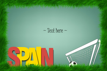 Frame. Spain and a soccer ball at the gate