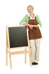 Shopkeeper: Standing with a Blank Chalkboard