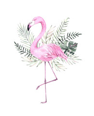 Hand drawn watercolor illustration. Print with pink flamingo and tropical leaves. Perfect for invitations, greeting cards, posters, blogs etc