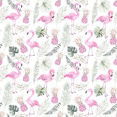Hand drawn watercolor seamless pattern. Background with pink flamingo, pineapple and tropical leaves. Perfect for wrapping paper, fabric, linens, invitations, greeting cards, prints