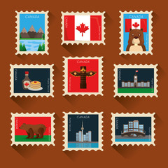 canada collection postage stamp classic composition vector illustration