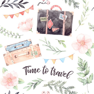Hand drawn watercolor seamless pattern. Time to travel. Fashion suitcases with stickers, flowers, Lettering, garland with flags. Trip to World. Perfect for invitations, greeting cards, prints, flyers