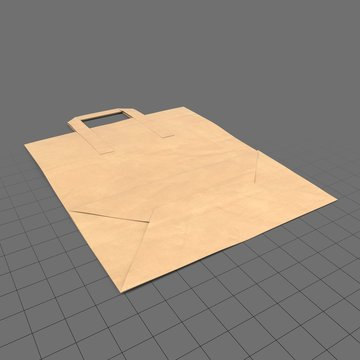 Folded grocery bag with handles