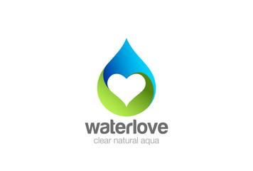 Wall Mural - Water droplet Heart inside Logo design vector. natural aqua drop