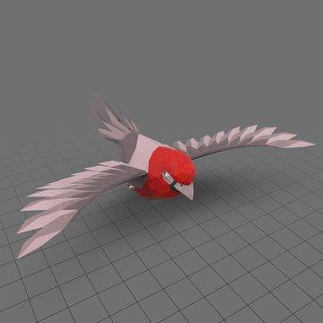 Stylized red bird flying
