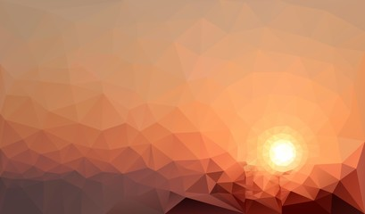 Low poly picture of the crimson sunset in the mountains. Modern trendy triangle geometric style.