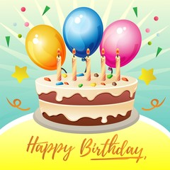colorful birthday card theme with big cake