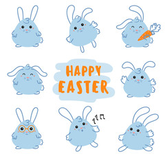 Cute rabbit characters. For advertising, poster or flyer template with a bunny. Hare with carrot. Happy Easter Day vector design