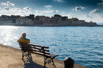 Senior Woman sightseeing in Chania, Crete, Greece